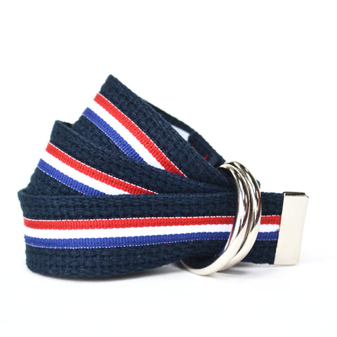 Women's Stripe Belt - Navy with Red, White and Blue Stripe