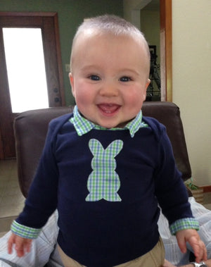 Baby Boy Easter Outfit - Navy with Blue/Green