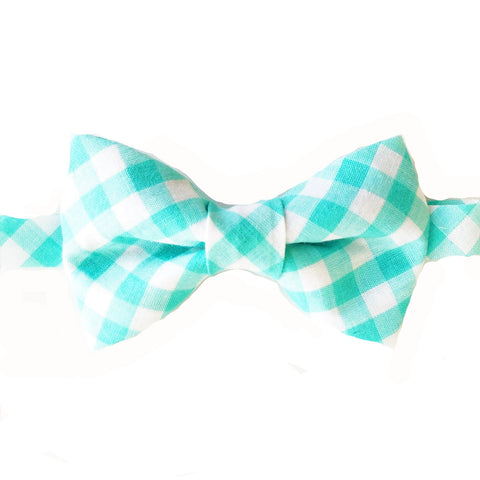 Mint Green Gingham Bow Tie