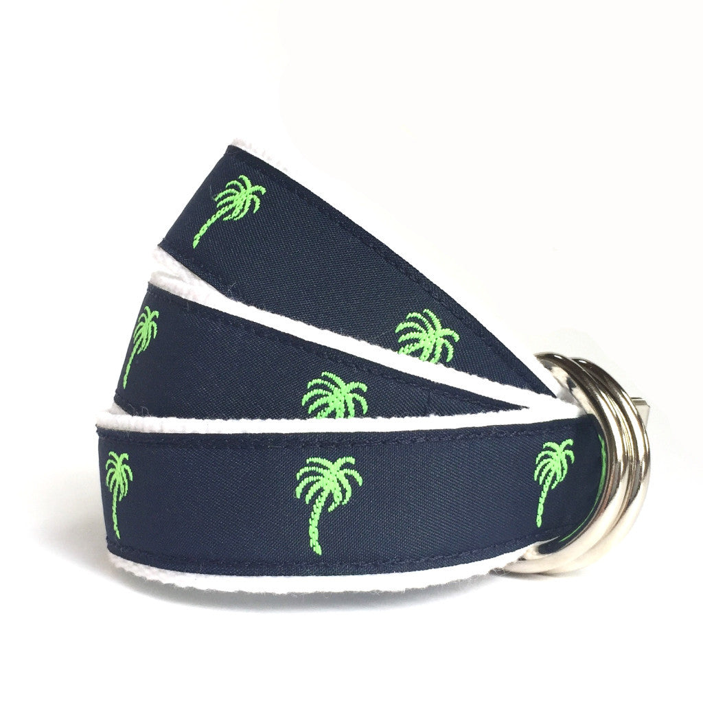 Women's Palm Tree Belt - Navy and Green