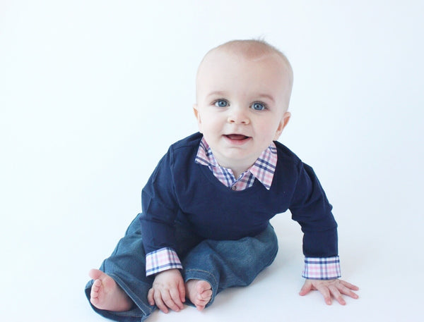 Baby Boy First Birthday Outfit - Navy with Navy/Pink