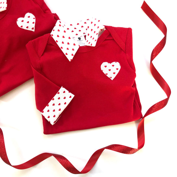 Baby Boy Valentine's Day Outfit - Red with Red Hearts
