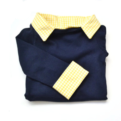 Custom Baby Boy Outfit - Navy with Yellow