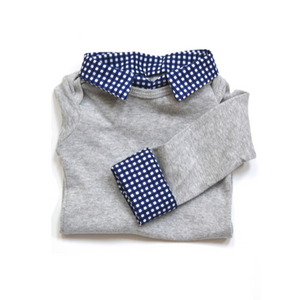 Baby Boy First Birthday Outfit - Gray with Navy Gingham