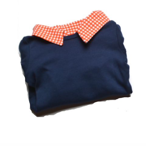 Baby Boy First Birthday Outfit - Navy with Orange Gingham