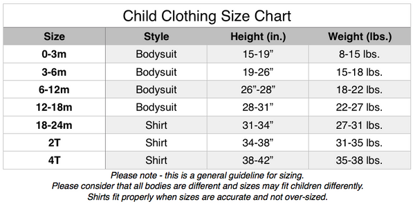 child clothing size chart from Brimmer Boys