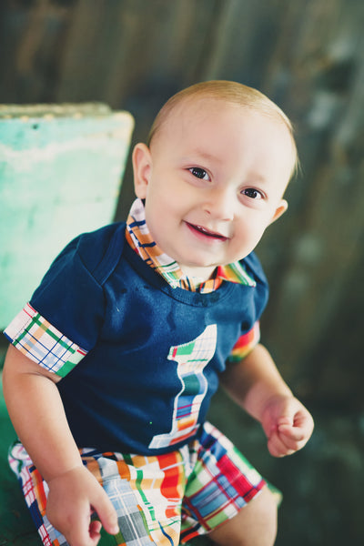 Baby Boy First Birthday Outfit - Navy with Madras