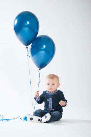 Baby Boy Coming Home Outfit - Navy with Navy Gingham