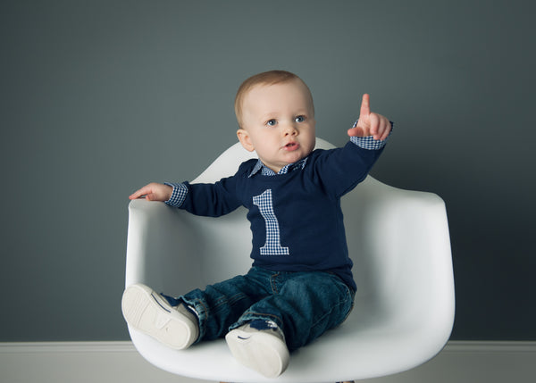Baby Boy First Birthday Outfit - Navy with Navy Gingham