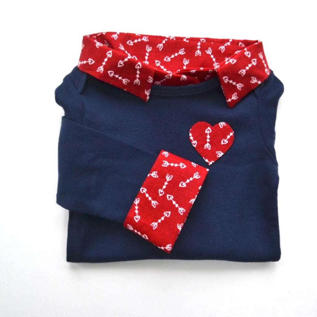 Baby Boy Valentine's Day Outfit - Navy with Red Arrows