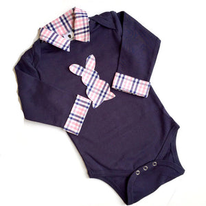 Baby Boy Easter Outfit - Navy with Navy/Pink