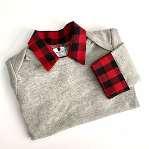 Baby Boy First Birthday Outfit - Lumberjack Buffalo Plaid