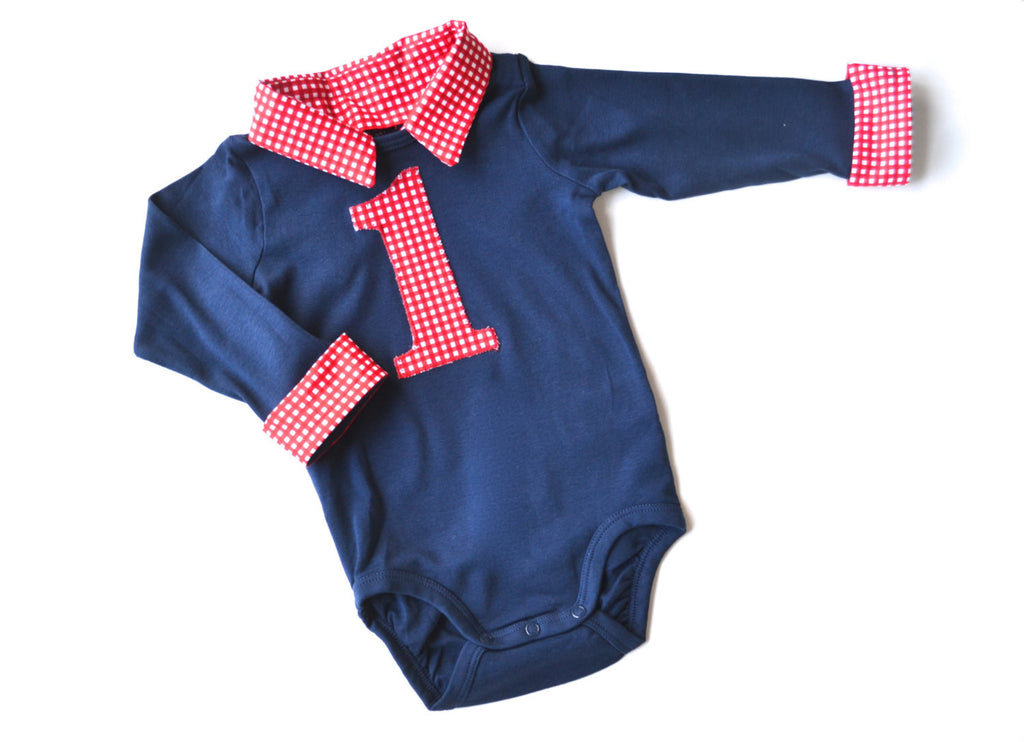 7e8c97fdf Baby Boy First Birthday Outfit - Navy with Red Gingham – Brimmer Boys ®