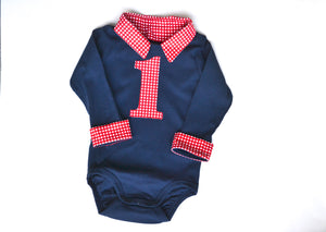 Baby Boy First Birthday Outfit - Navy with Red Gingham