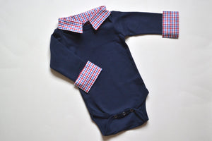 Baby Boy First Birthday Outfit - Navy with Red/Blue Check