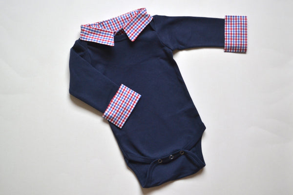 Custom Baby Boy First Birthday Outfit - Navy with Red/Blue Check