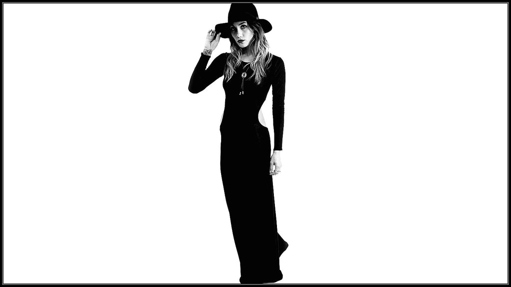 black long sleeve cut out maxi dress with wide brimmed hat