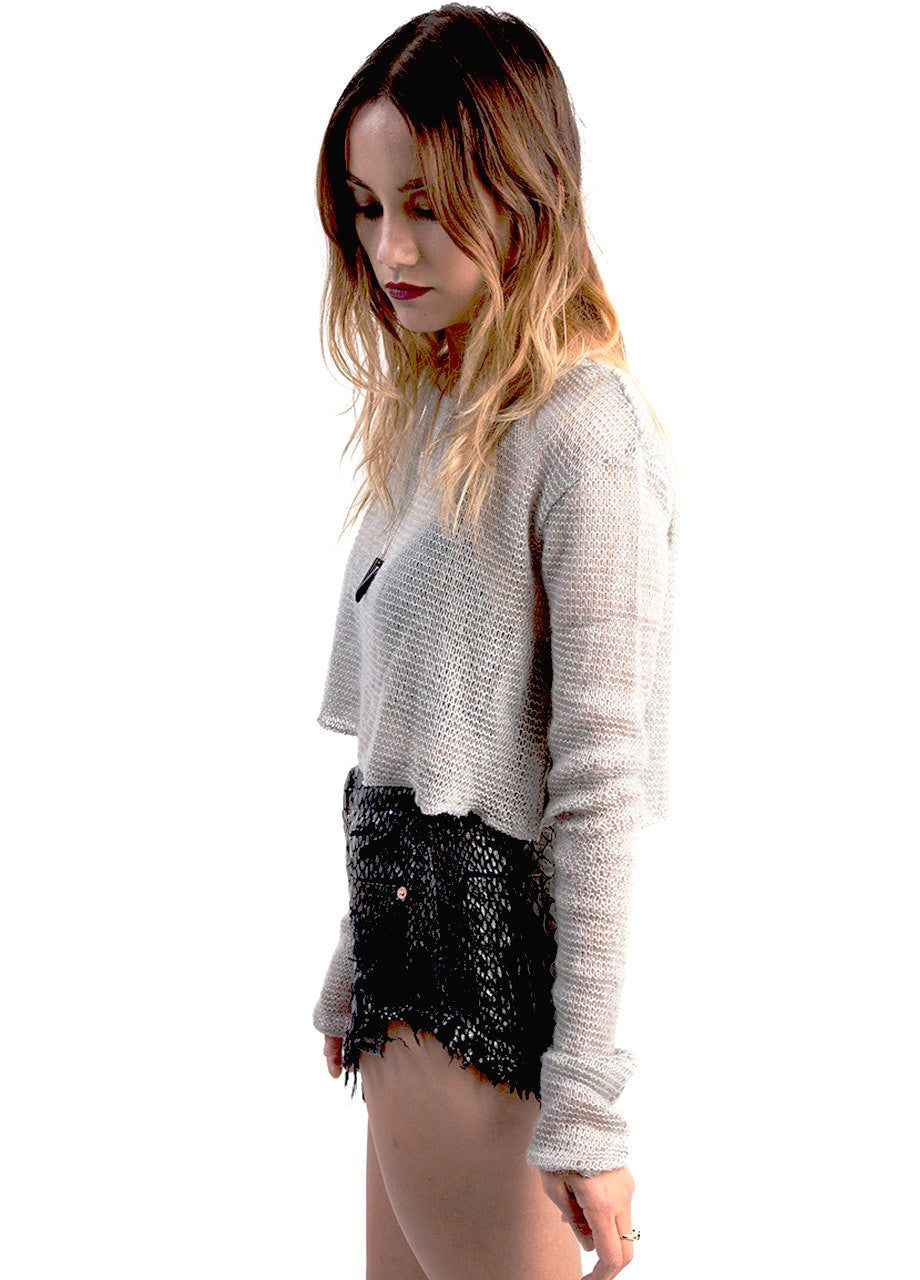 silver grey shrugs sweater off the shoulder styled look