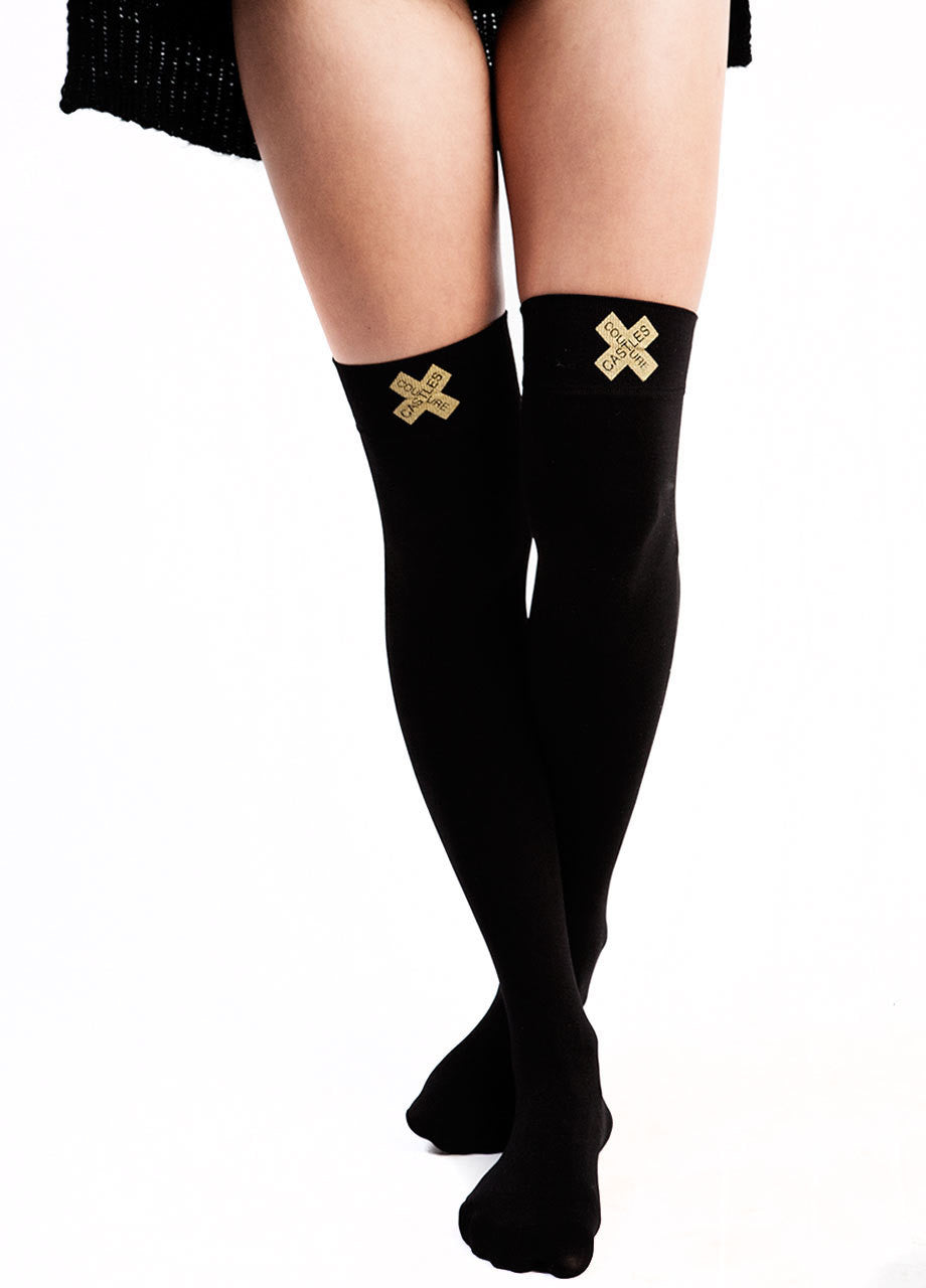 Castles Couture knee high socks, castles couture X logo knee high socks