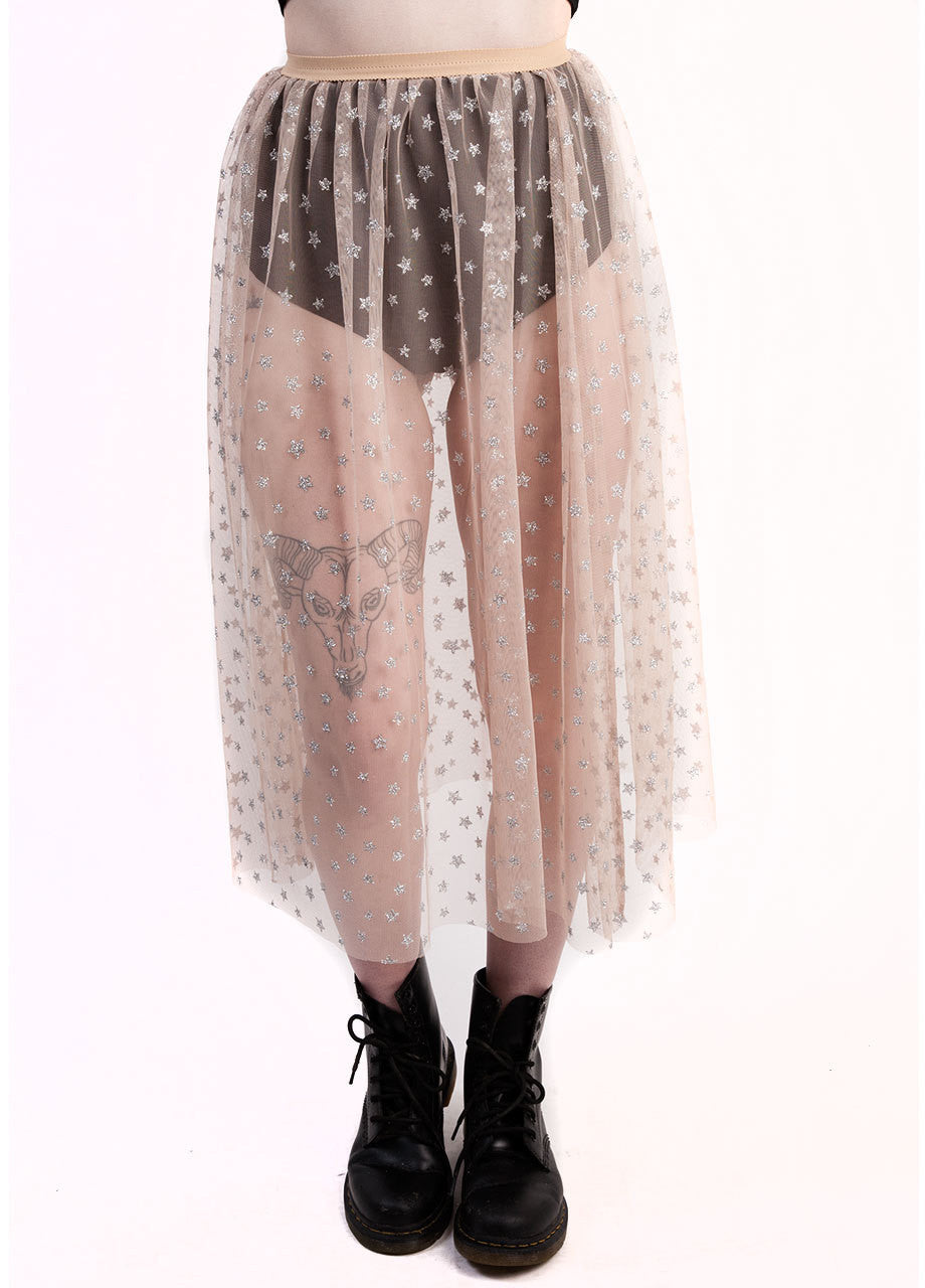 castles couture luna skirt with hot pants, in sheer nude tulle skirt material