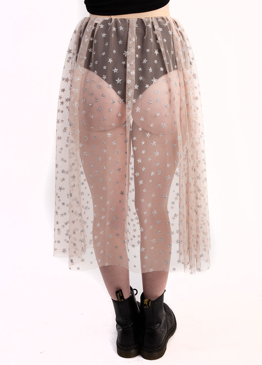 castles couture luna tulle skirt in nude with silver glitter stars print over sheer skirt