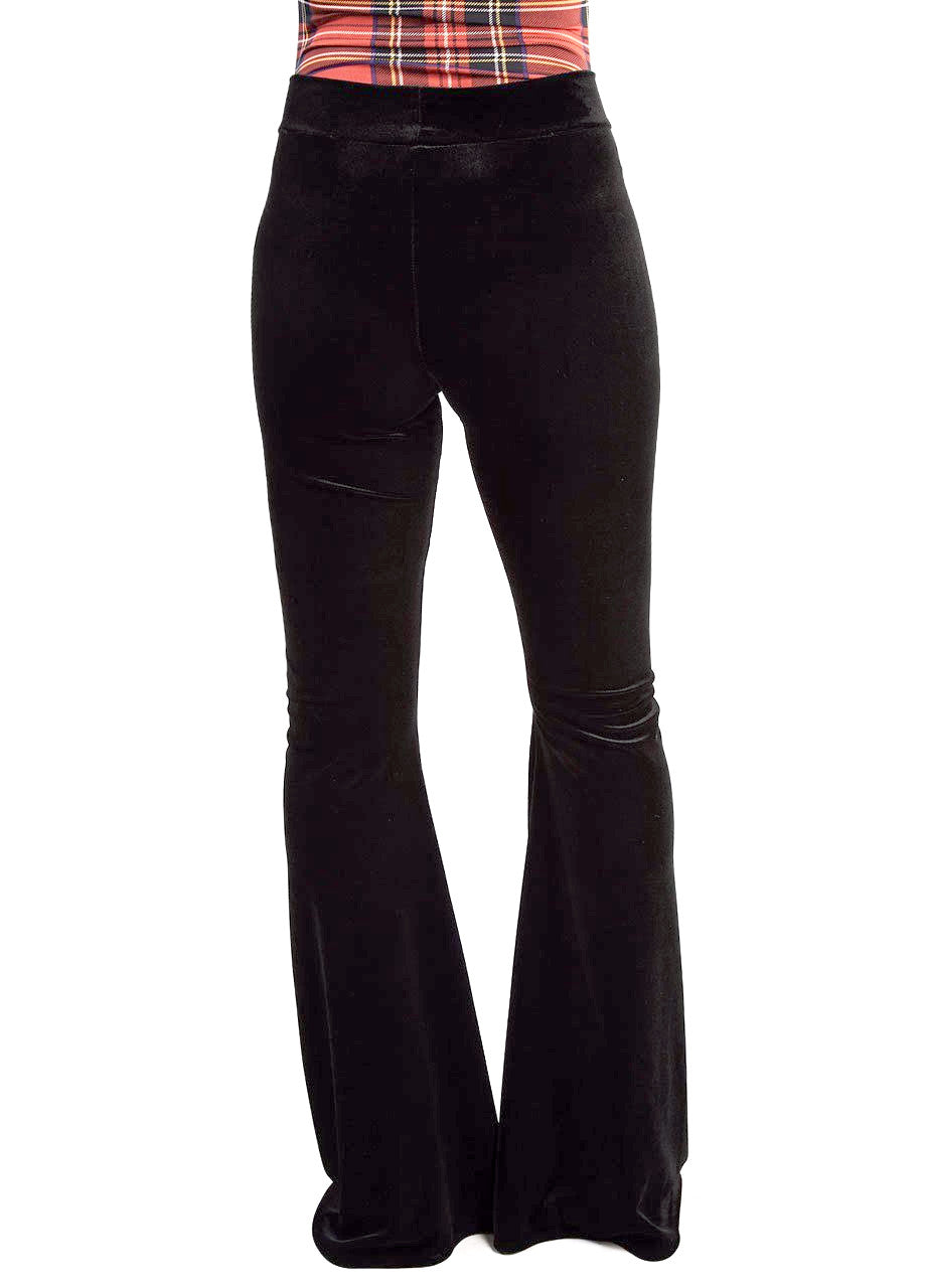 Castles Couture Velvet Bell Bottoms in black with high waist fit and stretch