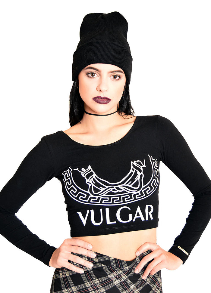 HLZBLZ Vulgar Long Sleeve Crop Top, hellz bellz vulgar long sleeve crop top close up front
