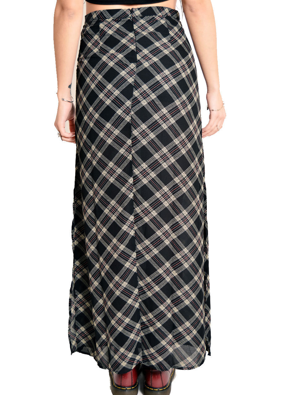 high waisted black plaid maxi skirt back view - shop BLACKCLOTH