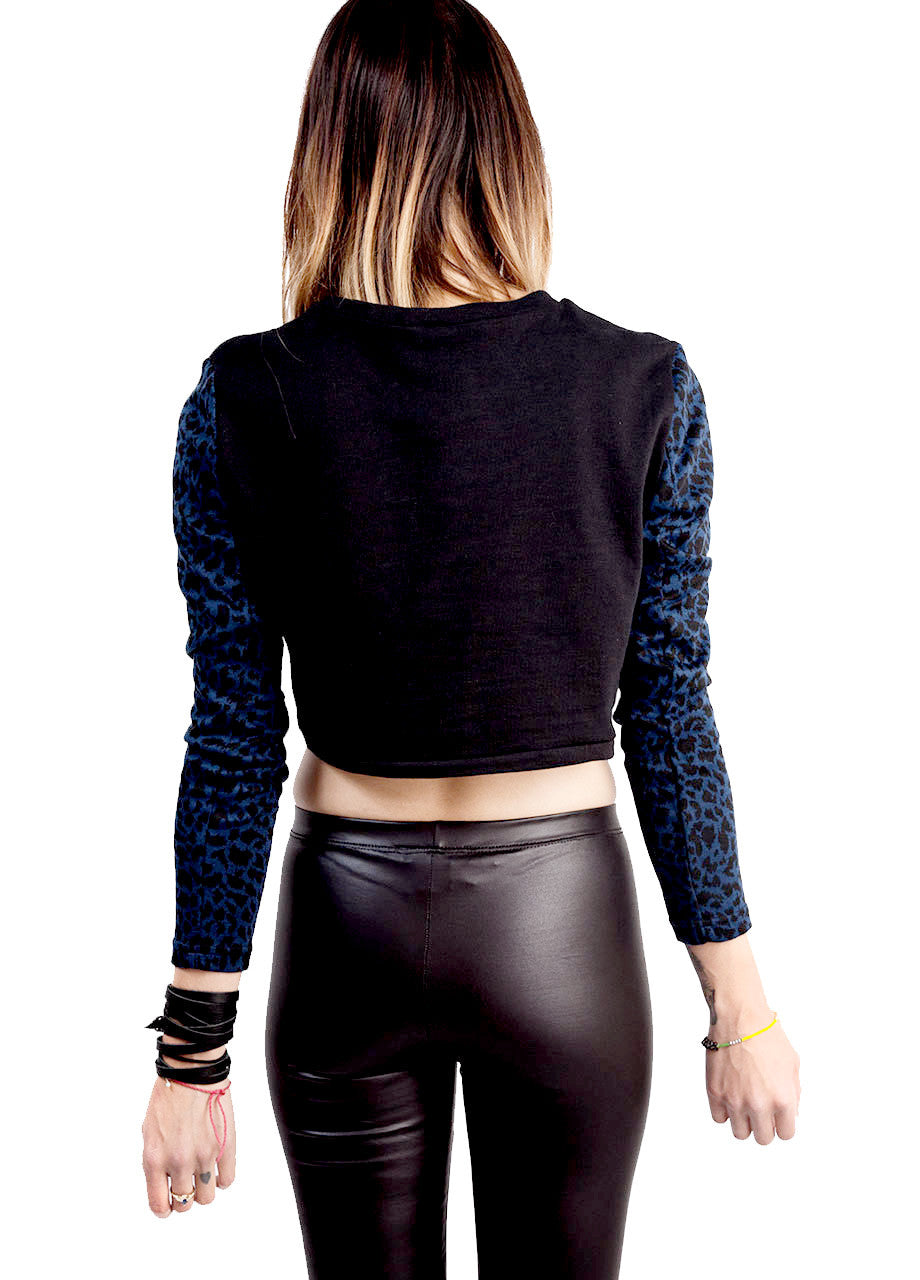 dark blue and black leopard print sleeve cropped pullover