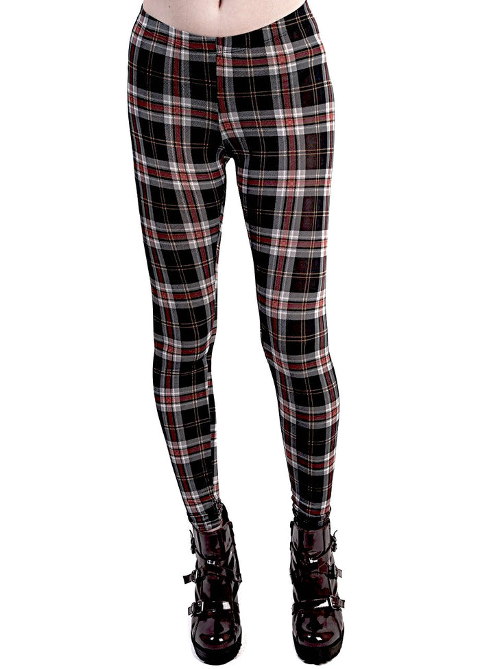 See You Monday Black Plaid Leggings