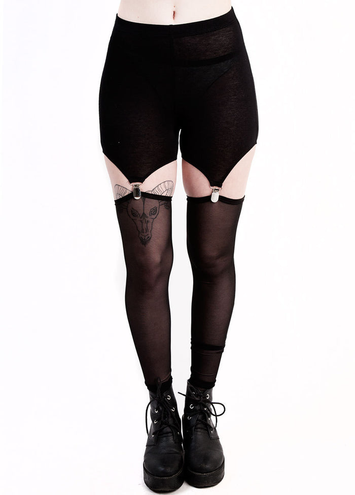 See You Monday Mesh Garter Leggings