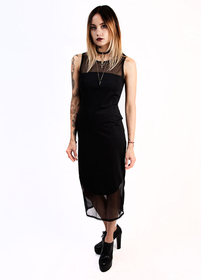 See You Monday Black Mesh Combine Dress