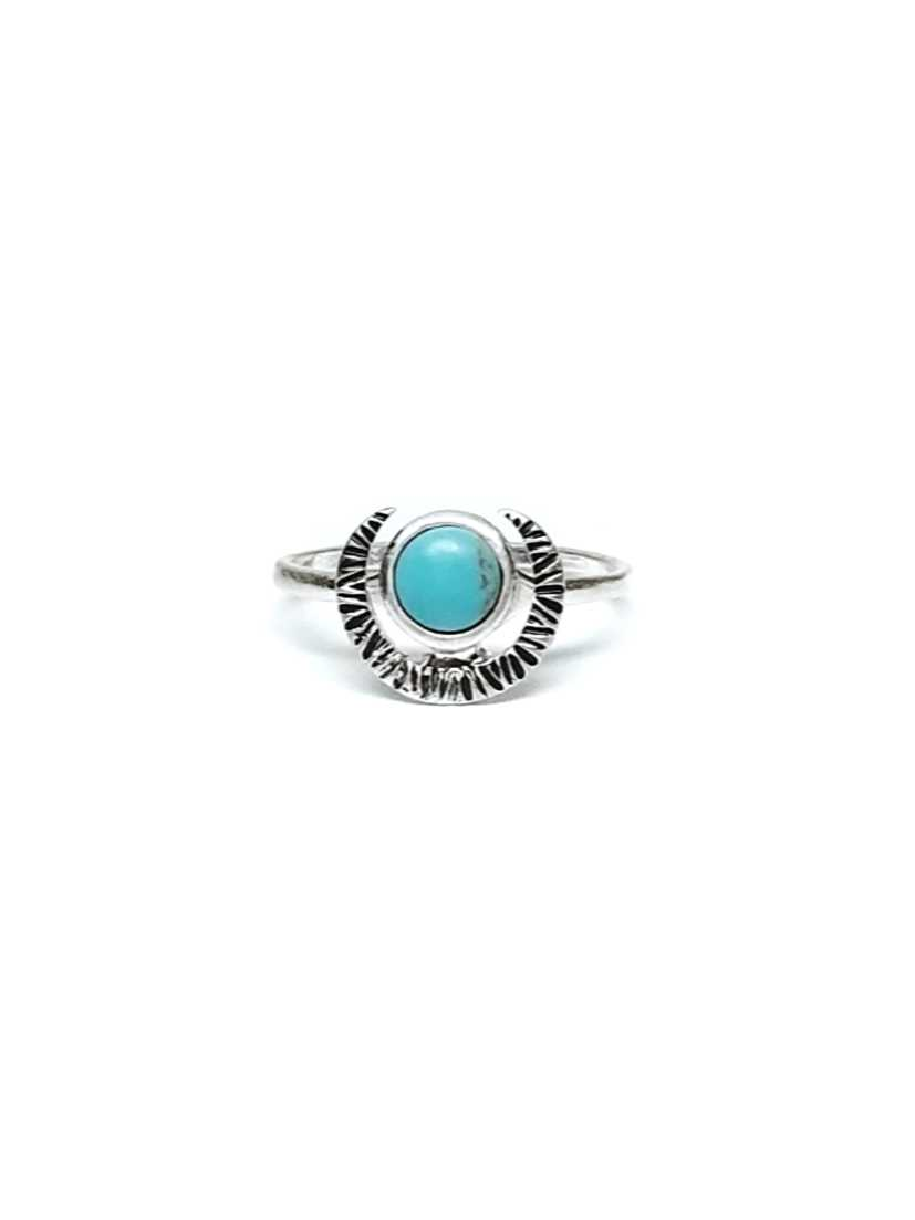 Turquoise Stone Crescent Moon Silver Ring