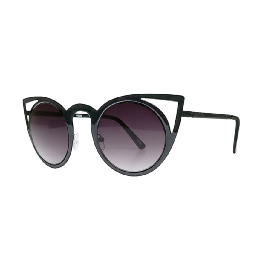 glossy black cat eye sunglasses with laser cut outs modern