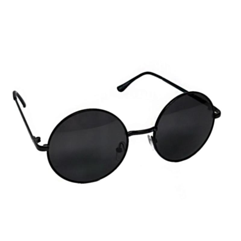 round circle frame metal sunglasses in black