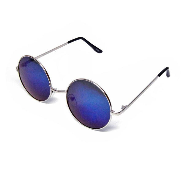 blue mirror lens round circle metal frame sunglasses