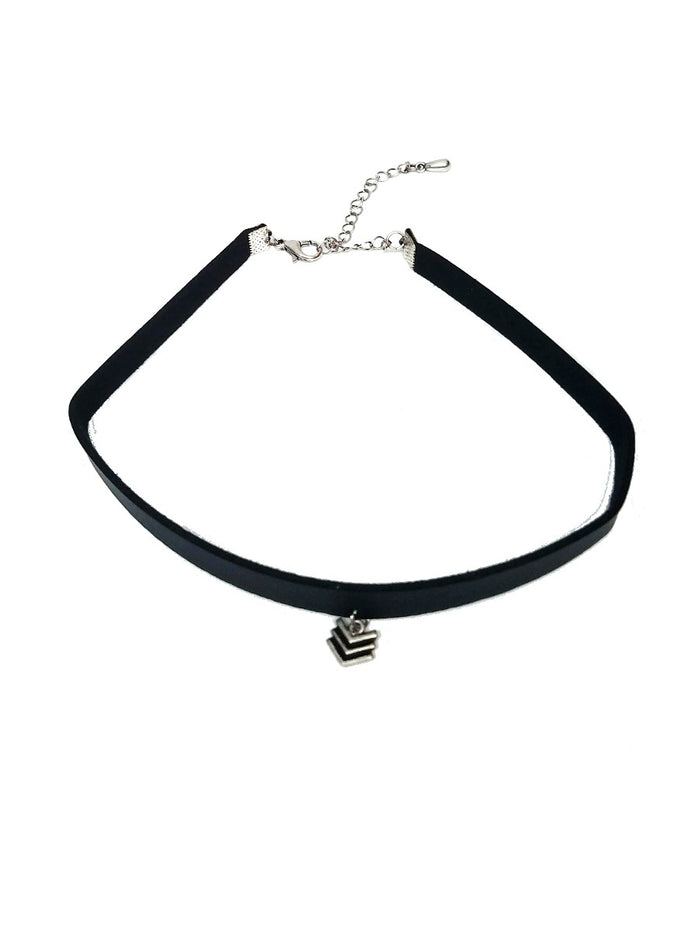 black leather choker with silver chevron pendant
