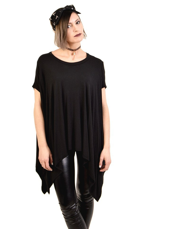 dark billows asymmetrical black over sized tunic top