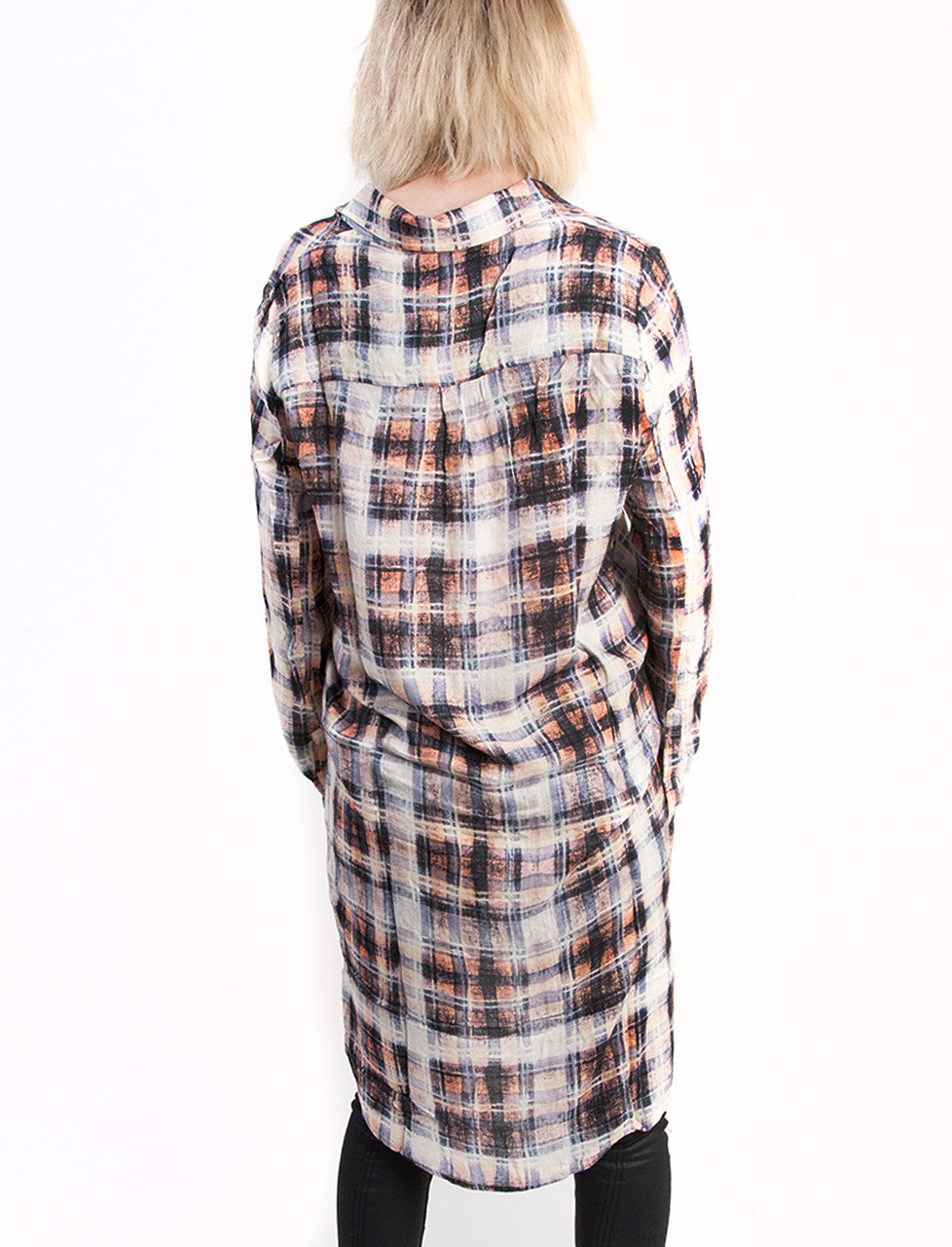 evil twin the label faded glory longline shirt dress, high low shirt dress, plaid shirt plaid back view