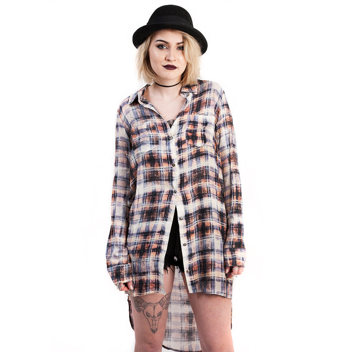 evil twin clothing faded glory longline plaid shirt dress
