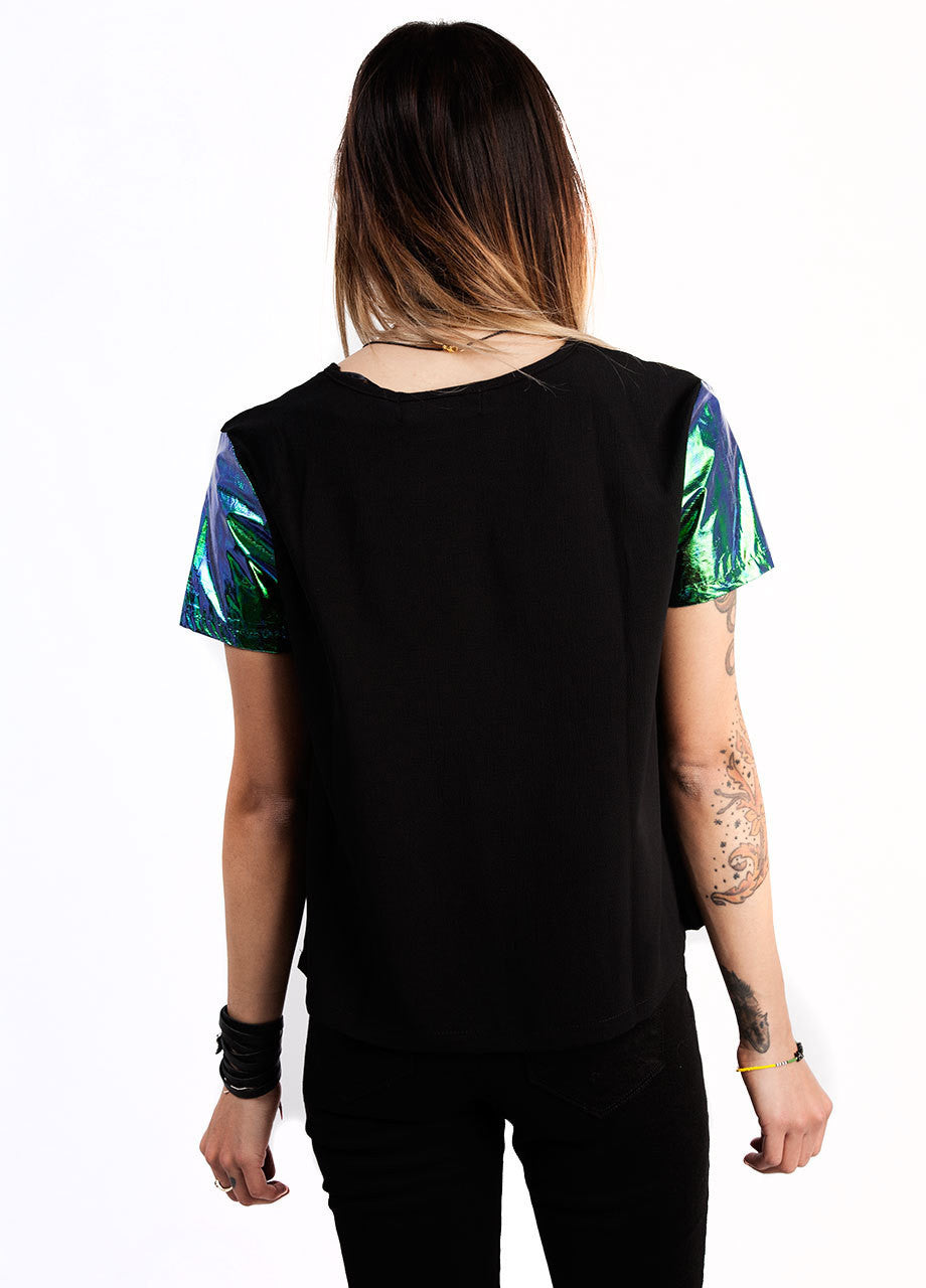 evil twin illuminati tee with foil sleeves in emerald color hologram, back view