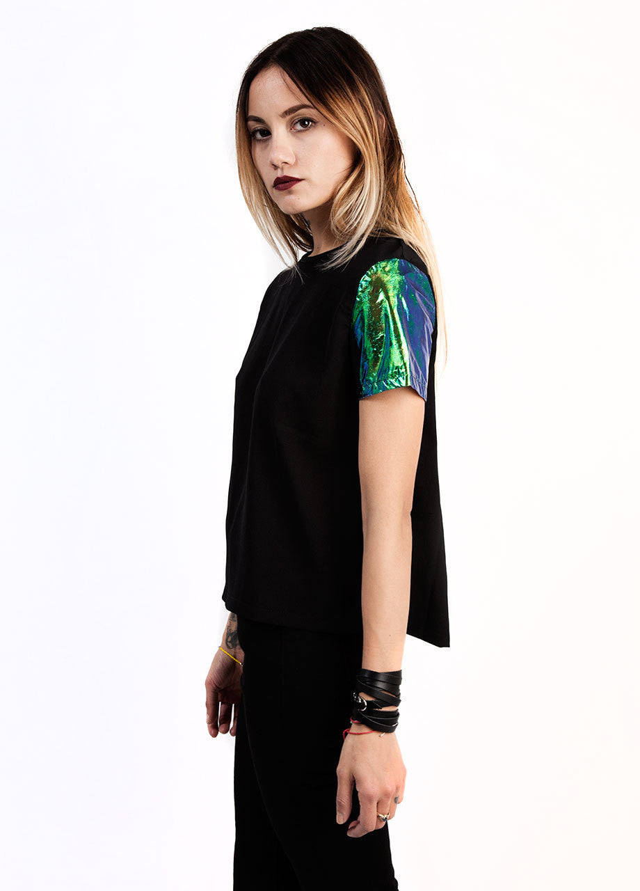 evil twin illuminati woven black tee with emerald holographic sleeves in foil material, cropped