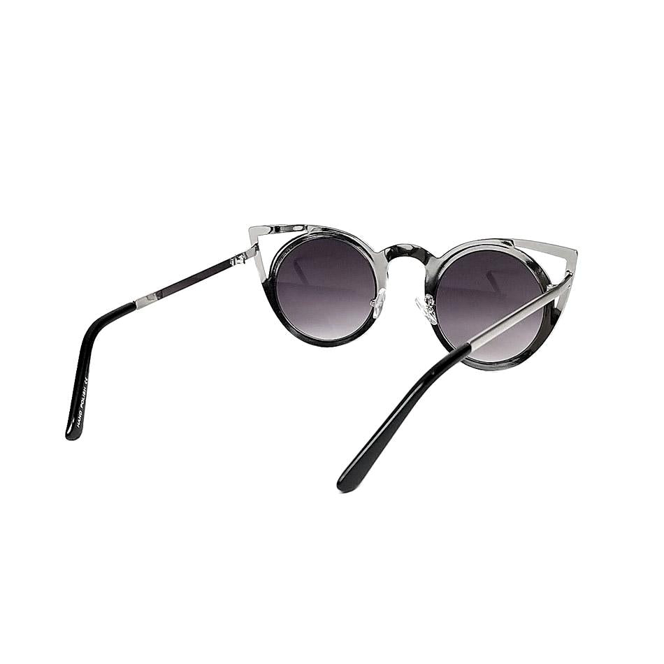 Silver Chrome Cutout Cat Eye Sunglasses