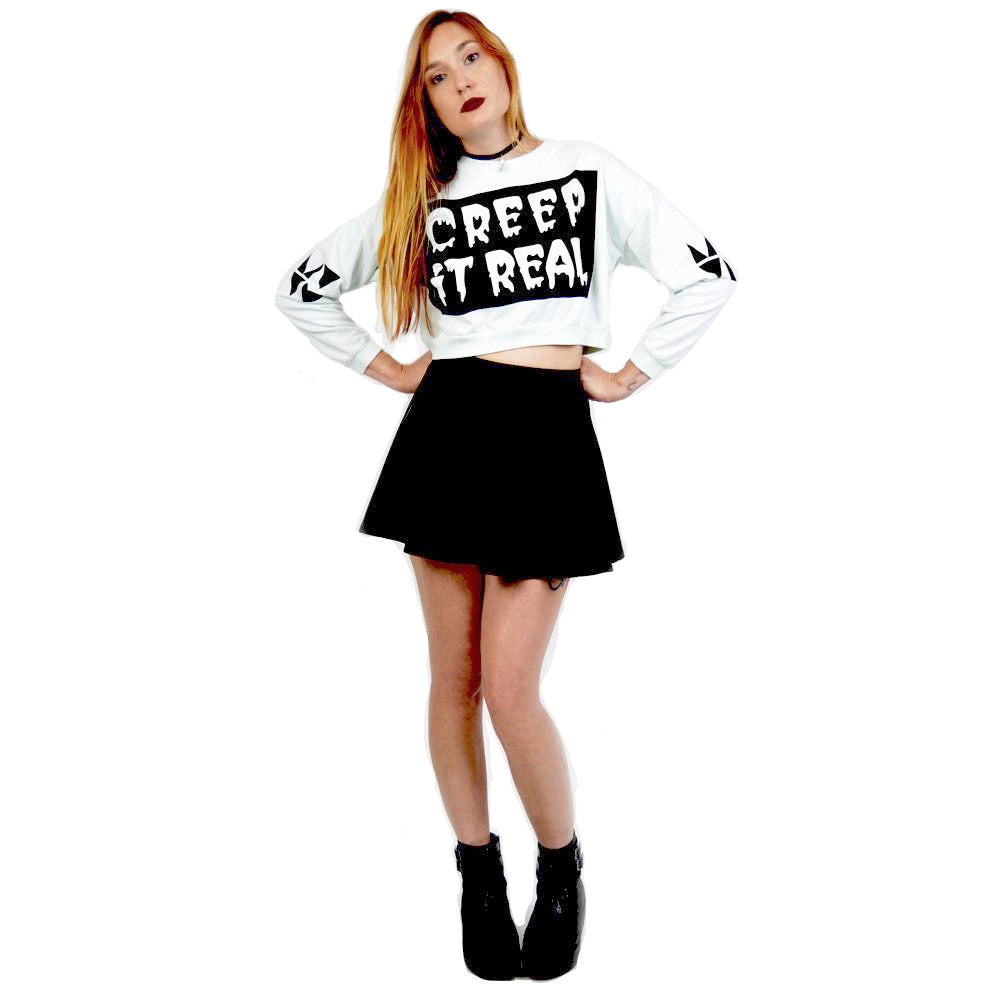 MYVL Creep It Real Cropped Crewneck Sweater