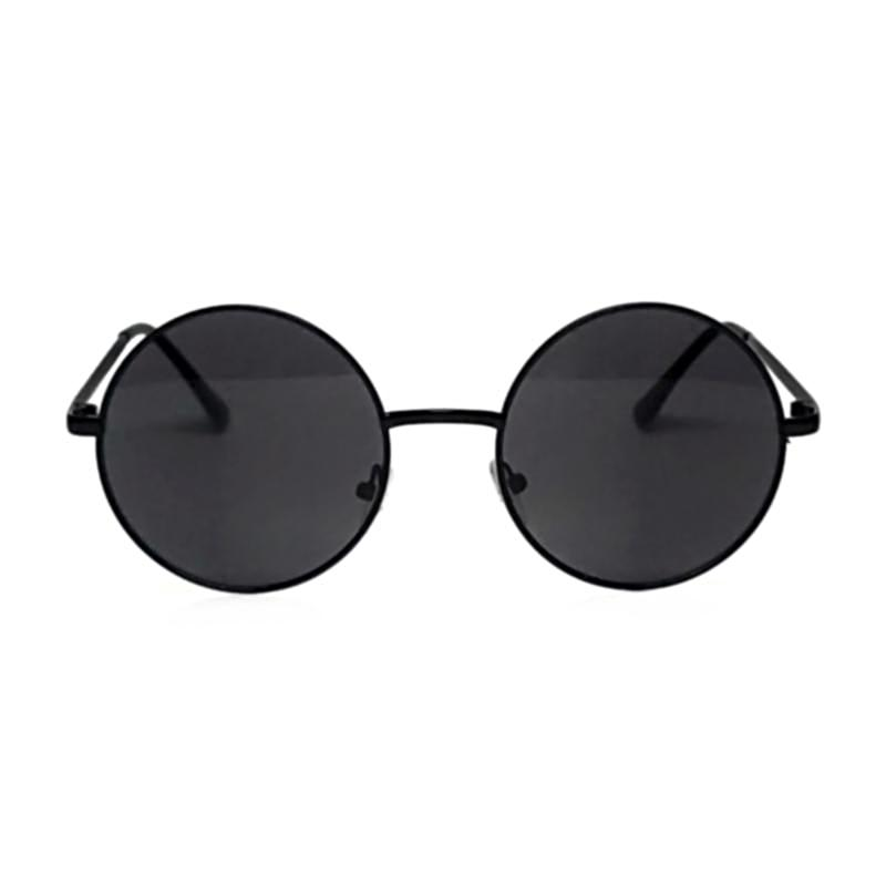 retro round circle black metal frame lens sunglasses