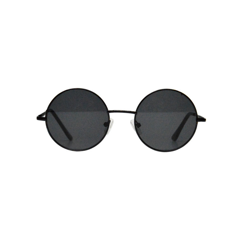 retro round lennon lens black metal round sunglasses