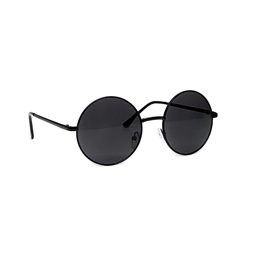 retro round metal circle black metal frame lens sunglasses