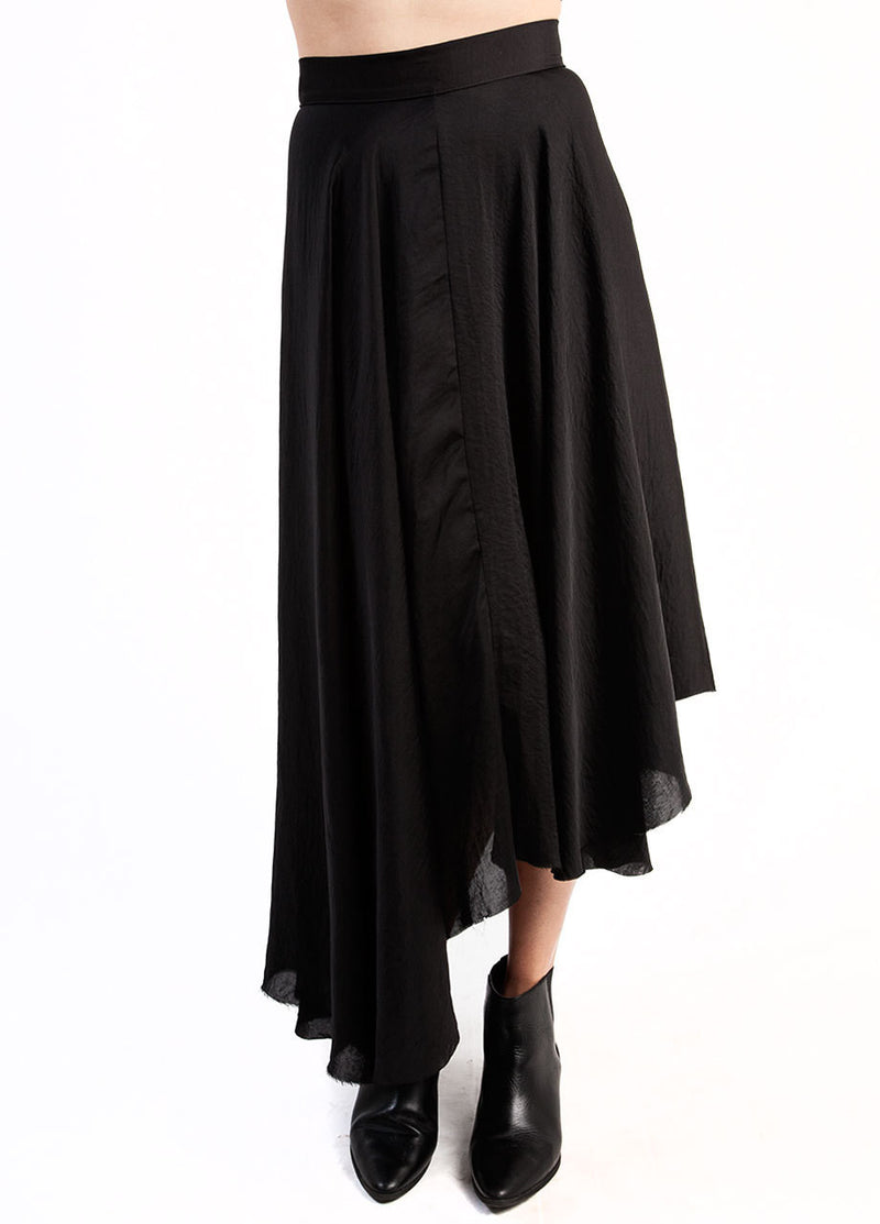 widow unfinished business skirt, black satin high low skirt, asymmetric high waist skirt