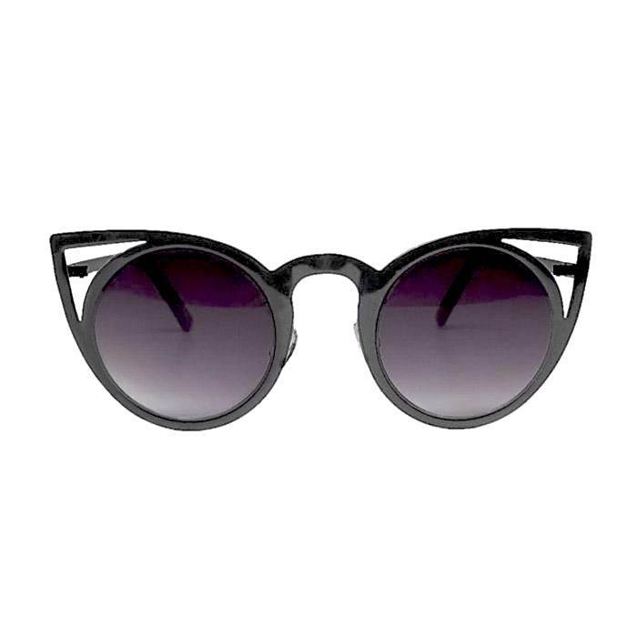 cut out cat eye sunglasses with glossy black frame