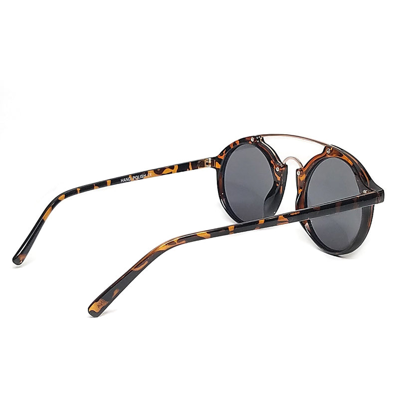 double bridge retro round tortoise frame sunglasses